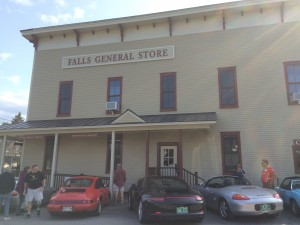 Porsches in front of Falls General Store Northsfield VT